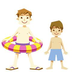 夏の水着の浮き輪少年たち