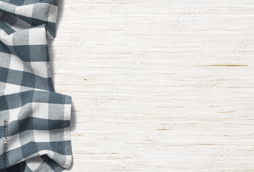kitchen table background with picnic cloth - 81156119