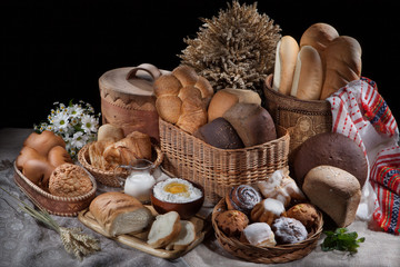 Still Life WIth Bread And Wicker BAsket