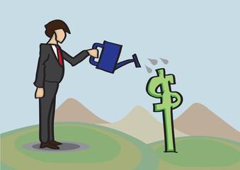Growing Money Business Metaphor Vector Cartoon Illustration