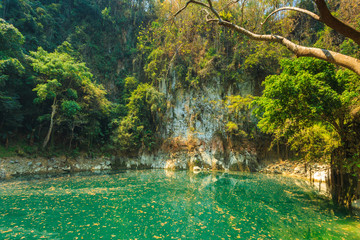 wonderful crater lagoon in thailand, lom pu keaw lagoon lampang