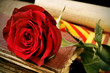 book, red rose and the catalan flag for Sant Jordi, Saint George