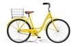 Leinwandbild Motiv Yellow Vintage Style Bike isolated on white
