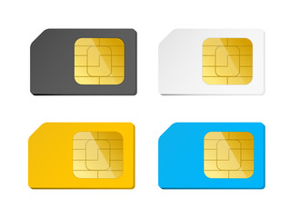 four sim cards black, white, blue, yellow