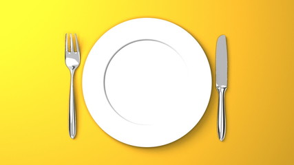 Top View Of Cutlery And Dish On Yellow Background
