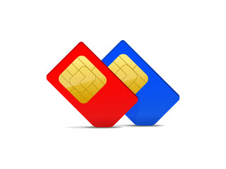 two sim card red and blue