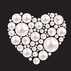 Pearl Heart Background. Vector Illustration