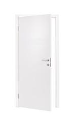 Vertical studio shot of an semi-opened white door