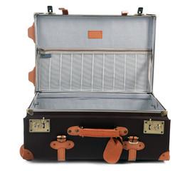 Empty open suitcase isolated on white