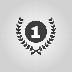 The Award icon. Wreath symbol. Flat