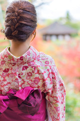 Back of a pretty Japanese girl in beautiful atmosphere. This pic