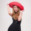 Leinwanddruck Bild - Frau mit Sombrero