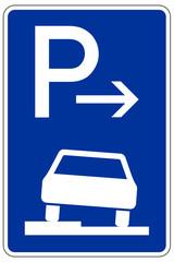 Parken halb auf Gehwegen in Fahrtrichtung links (Ende)