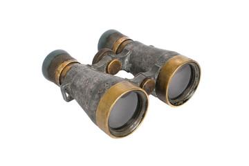 Old binoculars on white background