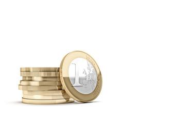 euro coin on white