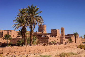 Kasba with a palm tree in the foreground, Morocco