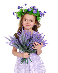 beautiful girl wearing flower headband and lavender bouquet