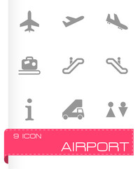 Vector black airport icon set