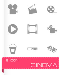 Vector black cinema icon set
