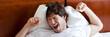 Yawning man after awakening