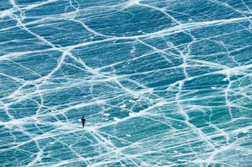 Frozen Baikal lake in winter