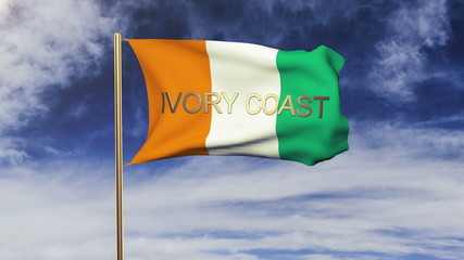 Ivory Coast flag with title waving in the wind. Looping sun