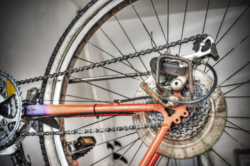 bike rear wheel in hdr