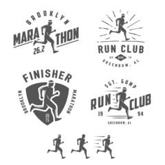 Set of vintage running club labels, emblems and design elements
