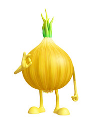 Onion character with best sign