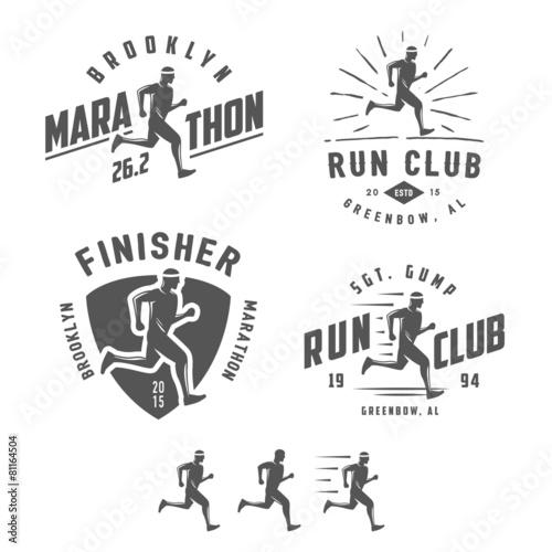 Fototapeta Set of vintage running club labels, emblems and design elements