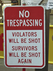 cartel No trespassing