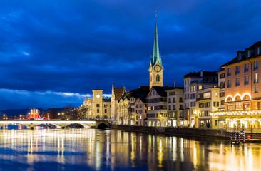 Zurich at night in Switzerland, Europe