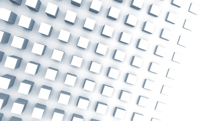 Digital background with cubes on the wall, 3d illustration