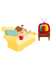 cartoon dog chilling with popcorn and  television