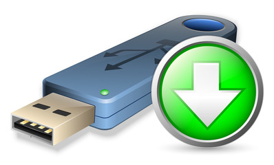 Vector USB Flash drive with DOWNLOAD sign