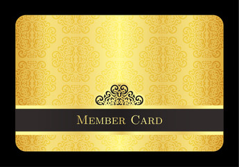 Golden member card with classic vintage pattern