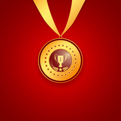 medal first place on a red background