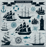 Set of sailing ships with nautical elements.