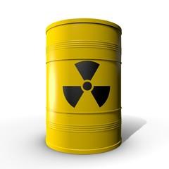 Gele ton met radioactieve vloeistof