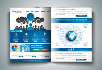 Vector bi-fold brochure template design or flyer layouts