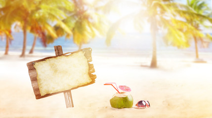 summer coconut drink on the beach