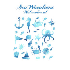 Sea wacations watercolor set