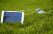 white tablet and headphones lying on the grass - 81168159