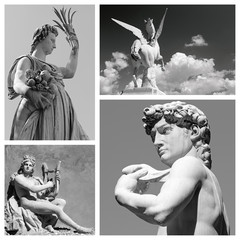 group of mythological statues of  : Demeter, Pegasus, Apollo and