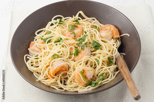 Aluminium Schaaldieren a bowl of shrimp scampi
