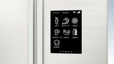 Smart refrigerator with LCD touch screen. Concept  of IoT. poster