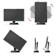 Monitor  with tilt, swivel, pivot and height adjustments