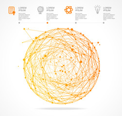 Vector abstract orange sphere infographics. Flat Design