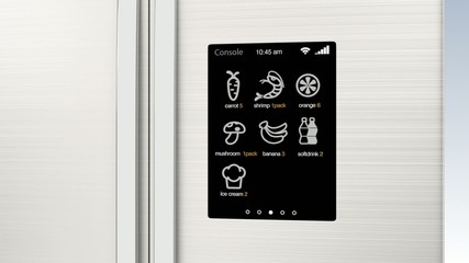 Smart refrigerator with LCD touch screen. Concept  of IoT.