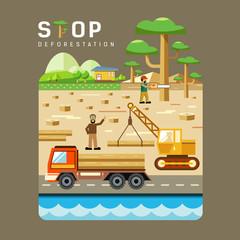 Deforestation concepts flat design
